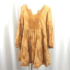 Free People Yellow Cotton Babydoll Dress S